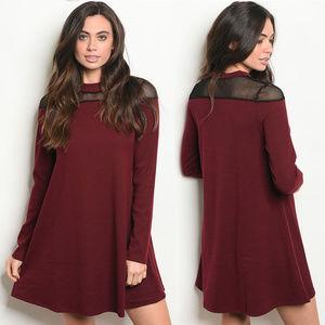 Dresses & Skirts - Long sleeve ribbed dress, burgundy tunic dress